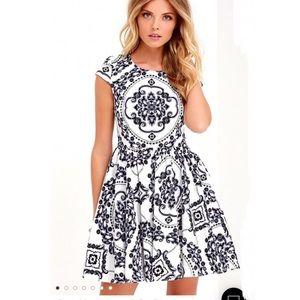 Lulus Sz Xl Royal Luxe Ivory Print Dress